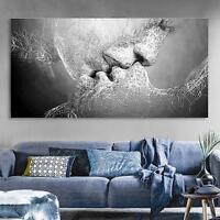Tableau Peinture à Huile Toile Baiser D'amour Noir&Blanc Abstraite Décor Murale