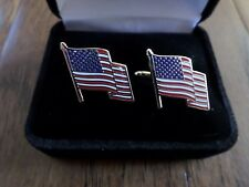 U.S.A American Flag Cufflinks With Jewelry Box 1 Set Cuff Links Boxed