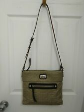 Brighton Grayish Quilted Nylon Messenger Shoulder Bag Zipper Closure Purse