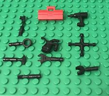 Lego 10 Pieces City Garage / Octan Mechanic Black Hand Tools Set,Red Toolbox
