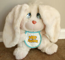 "1989 Galoob LOST N FOUNDS White Bunny Rabbit 10"" Plush Sad Eyes Vintage Stuffed"