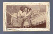 1910 RPPC SINGLE MAN 2 BEAUTIFUL WOMEN KISS HUG HAMMOCK Vintage Photo Postcard