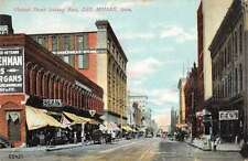 Des Moines Iowa business district east on Walnut St antique pc Z17617