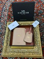 COACH NY PASSPORT WALLET LUGGAGE TAG  EXCLUSIVE SET MELON LEATHER HELICOPTER NEW