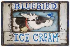 Bluebird Ice Cream Country Living Vintage Distress Metal Sign Wall Decor AIF105