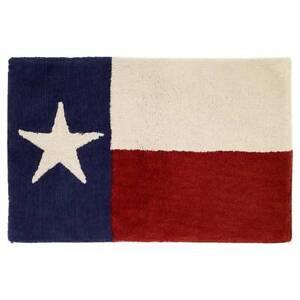 Avanti Texas Star Bath Rug Beige, Red & Blue Rectangular Bathroom Mat NEW