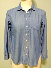 Ann Taylor LOFT Sz Petite Small PS Softened Shirt Long Sleeve Lt Denim Chambray