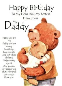 Happy Birthday to my Best Friend Ever, My Daddy A5 Card Dad Father Love From Son