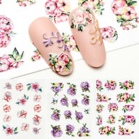 Holographic Embossed Flower 5D Nail Decal Nail Art Engraved Stickers Decoration