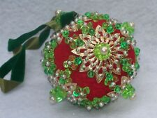 Vintage Green & Red Gold Beaded Sequin Christmas Ornament P1