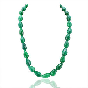SUPERB EXCELLENT 462.00 CTS NATURAL PEAR FACETED GREEN EMERALD BEADS NECKLACE
