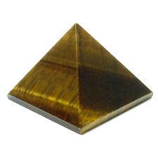 PYRAMID - TIGER'S EYE Crystal w/Description & Pouch - Healing Reiki Stone
