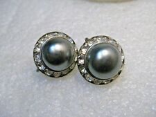Vintage Pewter Pearl Rhinestone Earrings, Art Deco, Screw Back, 1940's-1950's