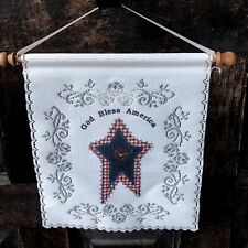 "Heritage Lace Patriotic Wall Hanging God Bless America Home Decor USA 9"" x 7"""