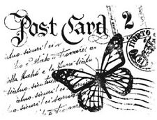 Stamperia Post Card mini Clear Stamp 5x7cm Butterfly script background ATC craft