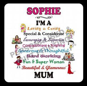 PERSONALISED LOVING MUM MUMMY MAM MOM COASTER MOTHER'S DAY BIRTHDAY XMAS GIFT