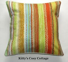 "16"" New Retro Chic Autumnal stripe vintage fabric cushion cover"