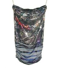 Sz M Sequined K TOO Stretchy Strapless Club Cocktail Mini Dress Silver & Gray