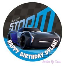 CARS 3 JACKSON  STORM ROUND 7 INCH EDIBLE IMAGE CAKE TOPPER BIRTHDAY PARTY