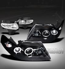 99-04 FORD MUSTANG HALO BLACK PROJECTOR HEAD LIGHTS+BUMPER FOG LAMP KIT BASE GT