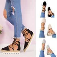 Women Ladies Summer Flat Wedge Sandals Espadrilles Lace Tie Up Ankle Strap Shoes