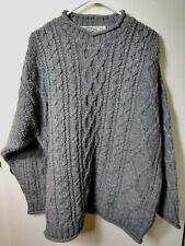 Aran Crafts Ireland Unisex Fisherman Sweater M Gray Chanky 100% Wool Cable Knit