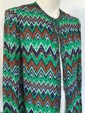 Adele Simpson Rhinestone Mod Long Sleeve Blouse Chiffon Vtg Sparkle 1970s Zigzag