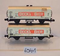 Minitrix Spur N 2 Stück Kühlwagen Beck´s Bier 2-achsig der DB #6941