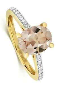 Morganite and Diamond Ring Yellow Gold Oval Cut Appraisal Certificate