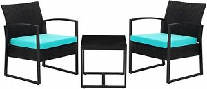 3-Piece Outdoor Patio Set Blue Dining Furniture Sets Rattan Outdoor Seating