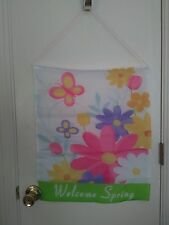 Welcome Spring Floral Banner Hanging Garden Decoration - 23""