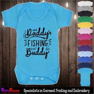 Baby Grow - Daddy's Fishing Buddy Gift Present Birthday Newborn Vest Dad Fish