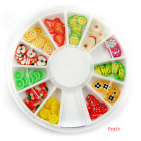 1X Fimo Acrylic Nail Art Decoration Tips 120X Multicolors Slice Manicure Wheel