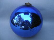 "HUGE ANTIQUE 8 1/2"" FRENCH COBALT BLUE KUGEL CHRISTMAS ORNAMENT."