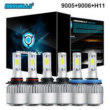 IRONWALLS 9005+9006+H11 Total 6000W COB LED Headlight Hi-Lo+Fog Light Combo  Kit