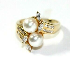 Stunning 14K YELLOW GOLD, CZ, PEARL Womens Ring: Size 7, 4.7 Grams
