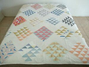 Vintage Hand Sewn Feed Sack MOSAIC Quilt w/ Flour Bags Backing, Cambridge MASS