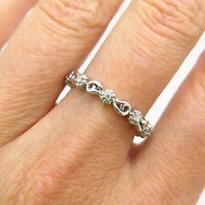 925 Sterling Silver Real Diamond Floral Design Thin Band Ring Size 7