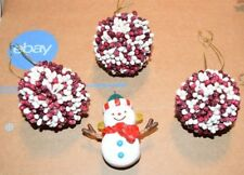 Christmas Holiday Rustic Red White 3 Pip Berry Balls and 1 Hallmark 2017 Snowman