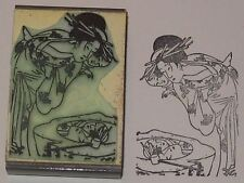 Japanese Woman Mother & Child Gazing In Pool rubber stamp