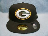 New Era 59fifty Green Bay Packers Solid BRAND NEW Fitted cap hat Black NFL GB