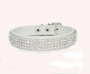 White Leather Collar Bling Rhinestone Pet Dog Cat Collars Crystal Diamond Collar