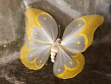 Vintage Hand Made Wire White & Yellow Fabric Butterfly Clinger Ornament Figurine
