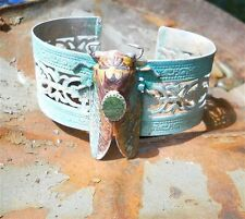 Bejeweled Turquoise Color w/ Jade Cicada Cuff New in Pouch SteamPunk 1 of a kind