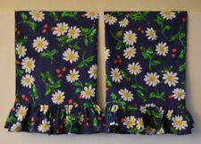Ruffled Pillowcases Daisies Two Handmade standard queen Cotton NEW navy blue