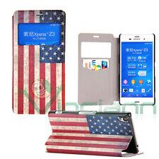 Custodia cover S-View Bandiera Vintage USA per Sony Xperia Z3 americana finestra