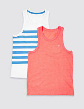 BNWT M&S Kids 2 Pack Boys Blue White Coral Vest Tops T-Shirts 10-11 Years