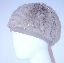 Betsey Johnson Kids Girls Beige Sequin Faux Fur Winter Hat Beret Xs (2-4)