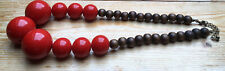 Huge Red Plastic Bobble Bead & Wood Necklace/Dark Brown/Chunky/Retro Style