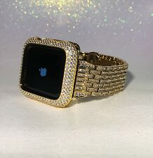 2 pc set 42mm Yellow Gold Lab Diamond Apple Watch Band/Bezel Sterling Series 2/3